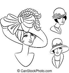vendimia, moda, niña, en, hat.