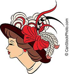 vendimia, moda, niñas, hat.