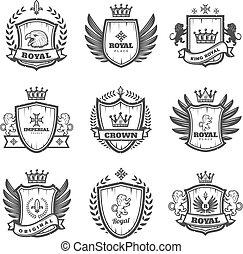 vendimia, monocromo, heráldico, emblemas, conjunto
