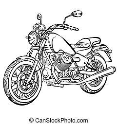vendimia, motocicleta, vector