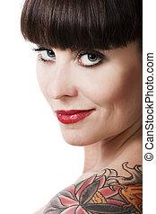 vendimia, mujer, con, un, tatuaje