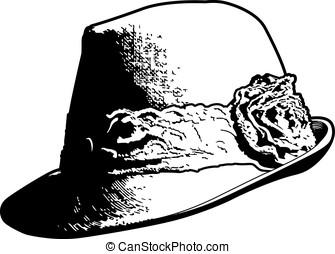 vendimia, mujer, sombrero