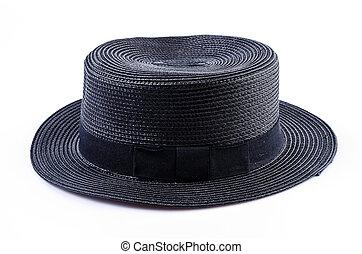 vendimia, mujeres, negro, sombrero