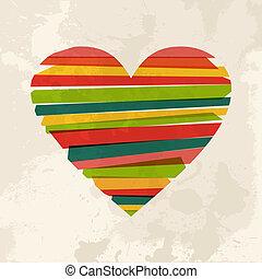 vendimia, multicolor, amor, forma, corazón