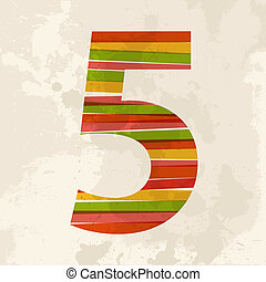 vendimia, multicolor, cinco, número
