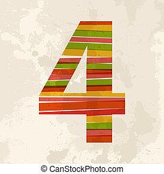 vendimia, multicolor, número 4