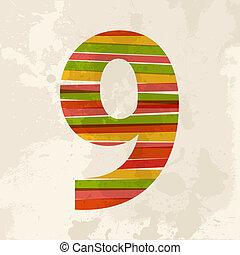 vendimia, multicolor, nueve, número