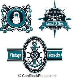 vendimia, náutico, emblemas, con, marina, elementos