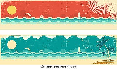 vendimia, naturaleza, vista marina, banderas, con, mar, y,...