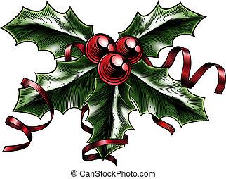 vendimia, navidad, ilustración, acebo