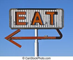 vendimia, neón, comer, señal, ruina