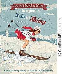 vendimia, niña, póster de mujeres sexualmente provocativas, cartel, esquí