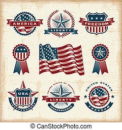 vendimia, norteamericano, etiquetas, conjunto