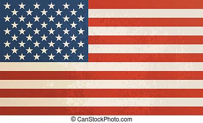 vendimia, norteamericano, textured, bandera, fondo.