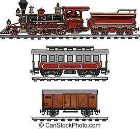 vendimia, norteamericano, tren, vapor