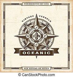 vendimia, oceánico, etiqueta