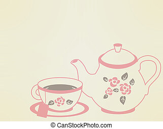 vendimia, olla, conjunto, té