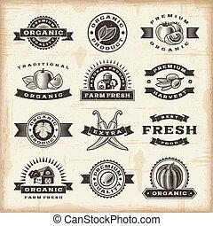 vendimia, orgánico, cosecha, sellos, conjunto