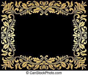 vendimia, oro, marco, con, elementos florales