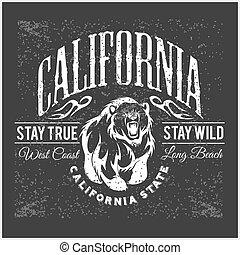 vendimia, oso pardo, tipografía, oso, república, california