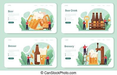 vendimia, página, jarra, vidrio, o, tela, set., botella de cerveza, aterrizaje, bandera