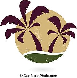 vendimia, palma, blanco, silueta, aislado