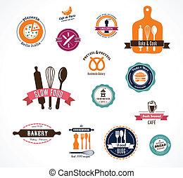 vendimia, panadería, etiquetas, café, colección