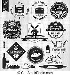 vendimia, panadería, etiquetas, conjunto, bread