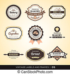 vendimia, panadería, logotipo, etiquetas, y, marcos