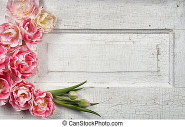 vendimia, paneled, flores, puerta