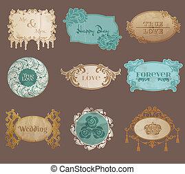 vendimia, papel, boda, marco, colección, -, vario, etiquetas, y, marcos, para, su, diseño, o, álbum de recortes, en, vector