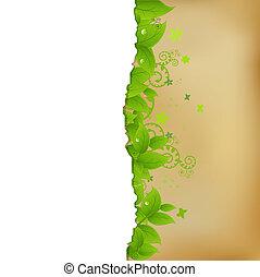 vendimia, papel, con, leafs