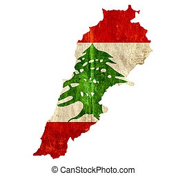 vendimia, papel, líbano, mapa