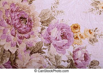 vendimia, papel pintado, con, floral, victoriano, patrón