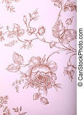 vendimia, papel pintado, con, marrón, patrón floral