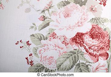 vendimia, papel pintado, con, patrón floral