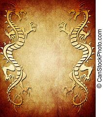 vendimia, papel, plano de fondo, dragón