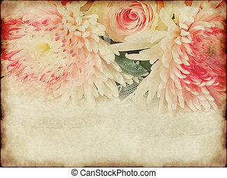 vendimia, papel, viejo, plano de fondo, rosa