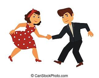 vendimia, pareja, bailarines, trajes, elegante, rock-n-roll