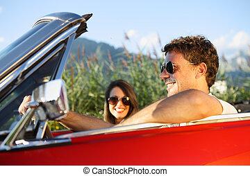 vendimia, pareja, coche