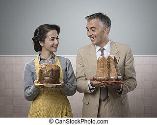 vendimia, pareja, con, pasteles