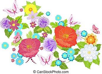 vendimia, patrón, con, pradera, flores, para, su, diseño