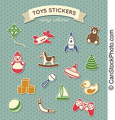 vendimia, pegatinas, colección, juguetes