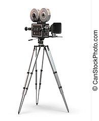 vendimia, película, cámara., 3d