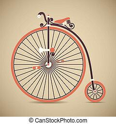 vendimia, penique, bicicleta, farthing