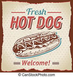vendimia, perros calientes, plano de fondo