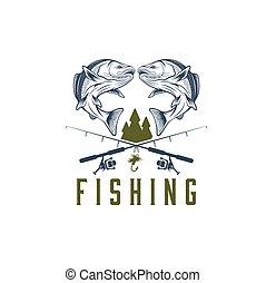 vendimia, pesca, vector, diseño, plantilla