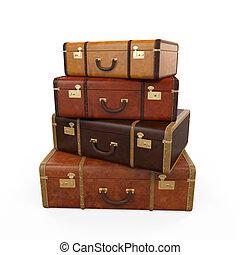 vendimia, pila, maletas