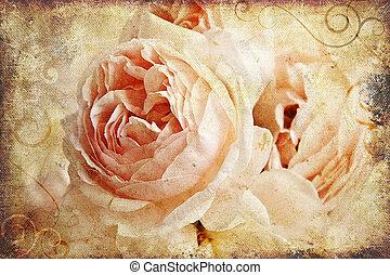 vendimia, pintura, rosa