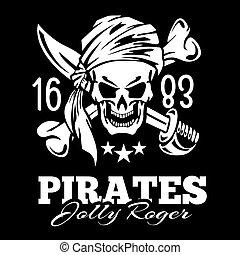 vendimia, piratas, cráneo, etiqueta